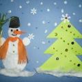 Мастер-класс по объемной аппликации с элементами рисования «Снеговик и ёлочка»