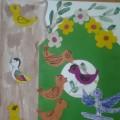 Аппликация с элементами рисования «Пришла весна, прилетели птицы». Коллективная работа (подготовительная группа)