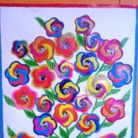 Мастер-класс по изготовлению праздничной открытки «Букет цветов в вазе» в технике айрис-фолдинг к юбилею детского сада