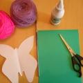 Бабочка из цветной пряжи