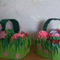 Поделка к Пасхе «Яркие цветочки в корзиночке» (мастер-класс)