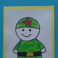 Открытки для пап ко Дню защитников Отечества «Солдат» с детьми первой младшей группы