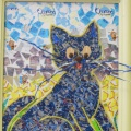 «Синий кот»— аппликация из фантиков