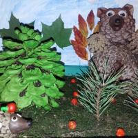 Фотоотчет о выставке совместных творческих работ детей и родителей на конкурсе «Мишка осенний»