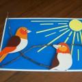 «Птички на ветке» мастер-класс поделки из картона
