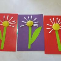 Мастер-класс аппликации из пластилина и ватных палочек «Волшебные одуванчики»