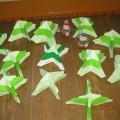 Оригами «Ёлочка в снегу». Работы детей подготовительной к школе группы