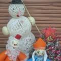 Новогодняя поделка «Дед Мороз, Снегурочка, Снеговик у ёлочки».