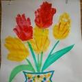 Коллективная работа посвященная празднику 8 Марта «Букет тюльпанов для мамочки!»