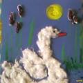 Поделка из ваты с изображением лебедя