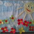 Коллективная работа в средней группе. Аппликация с элементами рисования «На солнечной полянке»