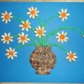 Мастер-класс по пластилинографии с использованием природного материала «Ромашки в вазе»
