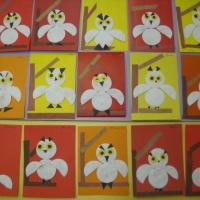 Выставка детских работ по аппликации «Совушка» в подготовительной группе