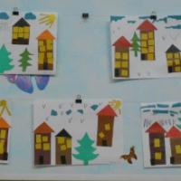 Фотоотчёт о детских творческих работах по аппликации «Дома на моей улице»