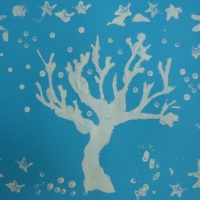 Фотоотчёт о нетрадиционном рисовании печатками и ватными палочками «Зимнее настроение»