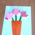 Аппликация «Тюльпаны в вазе»