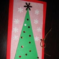 Мастер-класс изготовления новогодней открытки в технике аппликации в средней группе