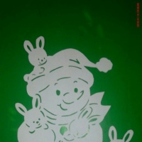 Фотоотчет «Снеговичок в технике вытынанка»