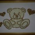 Коллективная работа «Медвежонок» из гречки и из риса