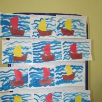 Фотоотчет о занятии по рисованию с элементами аппликации «Кораблик и ручеек»