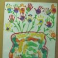 Коллективная работа к празднику День матери «Ваза с цветами»