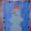 Аппликация (коллективная работа) «Наш веселый снеговик»