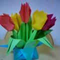 «Тюльпаны маме». Мастер-класс по изготовлению букета ко Дню 8 Марта в технике оригами