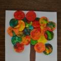 Мастер класс: поделка из ватных дисков «Осеннее дерево»