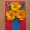 «Цветы для мамы». Объемная аппликация из цветной бумаги
