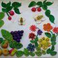 Картина из соленого теста «Фрукты и цветы»