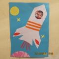Аппликация из цветной бумаги с фото «Полет на луну»