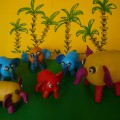 Мастер-класс поделка «Семья африканских слонов» (из бросового материала)