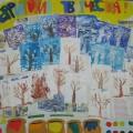 Стенгазета «Зимние деревья» в нетрадиционной форме рисования