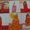 Рисунки детей «Спасская башня Кремля»