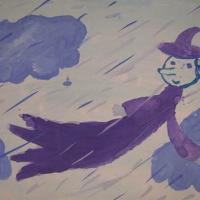 Конспект занятия по рисованию в старшей группе в технике по мокрому листу «Синьор дождик»