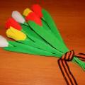 Цветок тюльпана из гофрированной бумаги для оформления интерьера группы. Мастер-класс