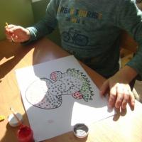 Конспект занятия по изобразительной деятельности по рисованию в технике пуантилизма «Грибы»