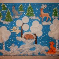 Детский мастер-класс «Коллективная работа «Зимний лес полон чудес» в технике аппликации и рисования пальчиками»