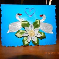 Мастер-класс по изготовлению открытки «Лебеди» ко Дню всех влюбленных с использованием техник айрис фолдинг и канзаши