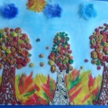 Коллективная работа по пластилинографии «Золотая осень». Старшая группа