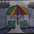 Аппликация с элементами рисования «Прогулка под дождём»