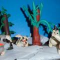 Коллективная лепка «Зайцы в лесу»