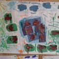 Коллективная работа по аппликации с элементами рисования в средней группе «Воробьи в лужицах» (фотоотчёт)