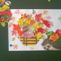 Коллективная работа детей «Осенние листья». Аппликация в технике торцевания