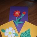 Объемная аппликация из цветной бумаги «Цветок для любимой мамочки»