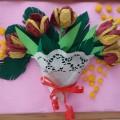 Мастер-класс. Коллективная работа «Весенний букет» с детьми подготовительной к школе группы (салфетки, гофрированная бумага)