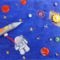 Коллективная аппликация в разновозрастной группе ко Дню космонавтики