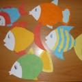 Аппликация из бумаги «Морские рыбки»
