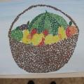 Коллективная работа в технике рваной аппликации «Корзина с фруктами» (старшая группа)