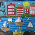 Коллективная апликация «Город у моря» старшая группа